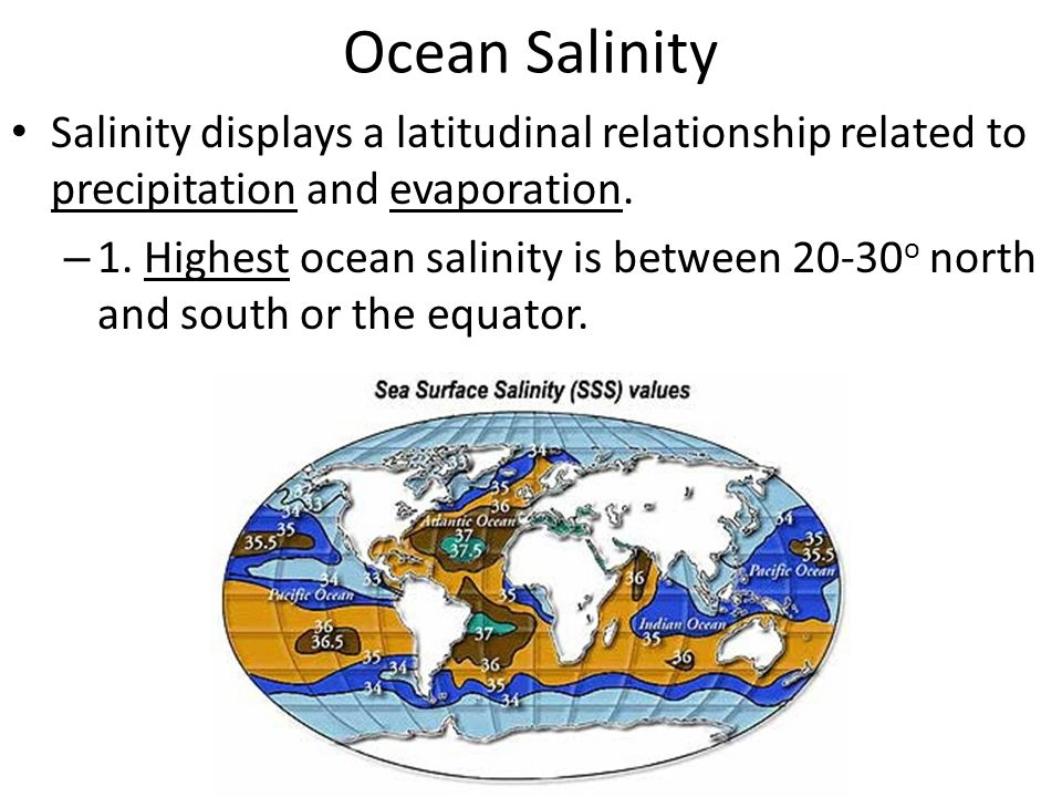 Ocean Salinity Salinity displays a latitudinal relationship related to precipitation and evaporation.