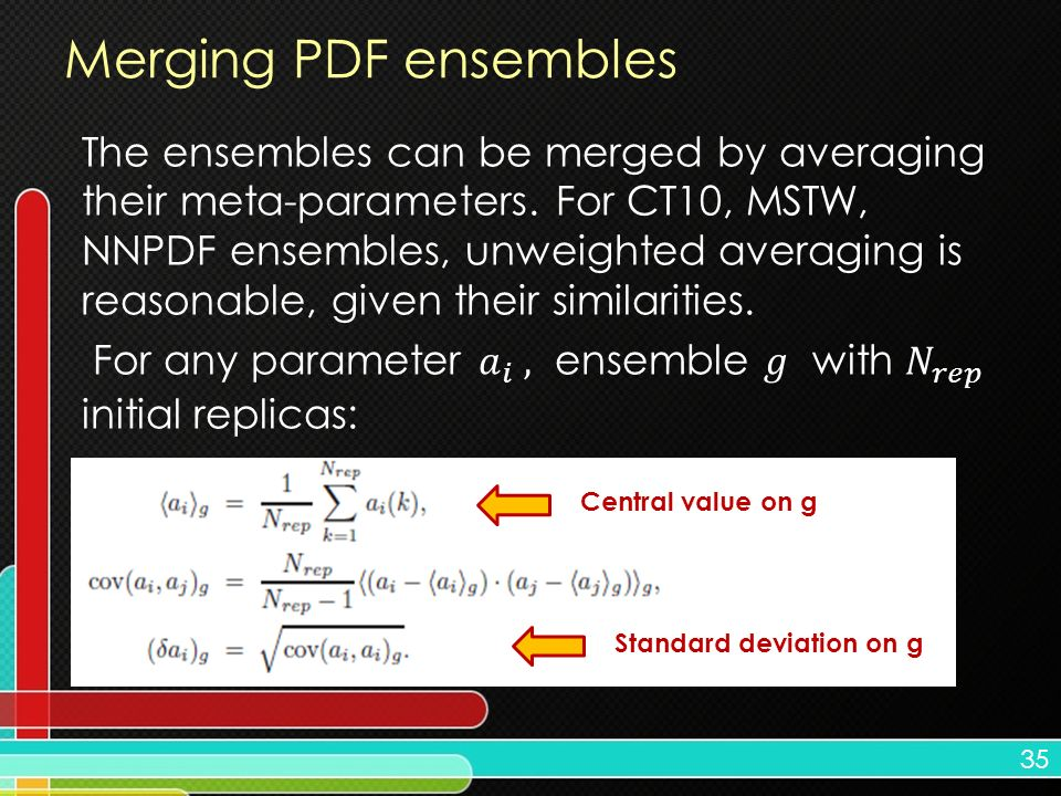 35 Merging PDF ensembles Central value on g Standard deviation on g