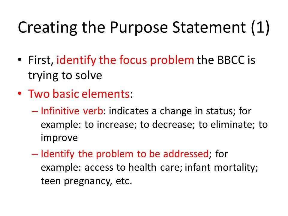 Creating a purpose statement