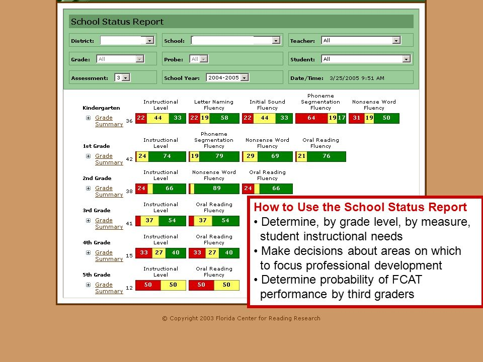 How to Use the School Status Report Determine, by grade level, by measure, student instructional needs Make decisions about areas on which to focus professional development Determine probability of FCAT performance by third graders