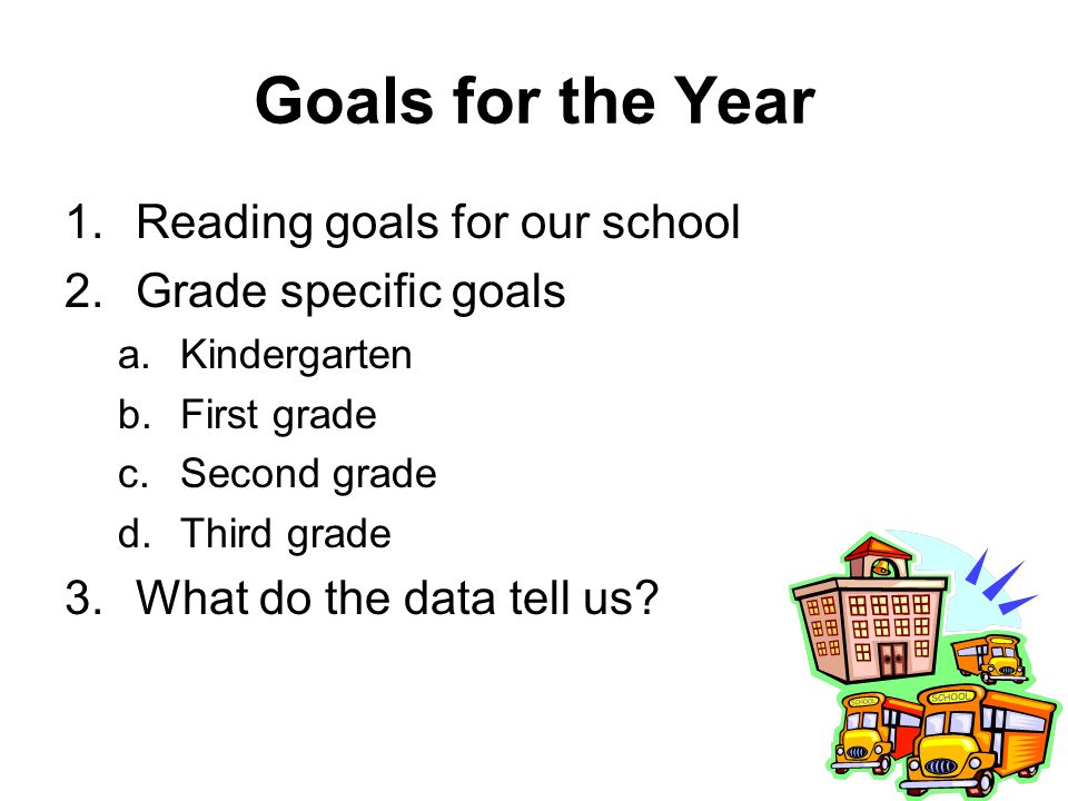 Goals for the Year 1.Reading goals for our school 2.Grade specific goals a.Kindergarten b.First grade c.Second grade d.Third grade 3.What do the data tell us