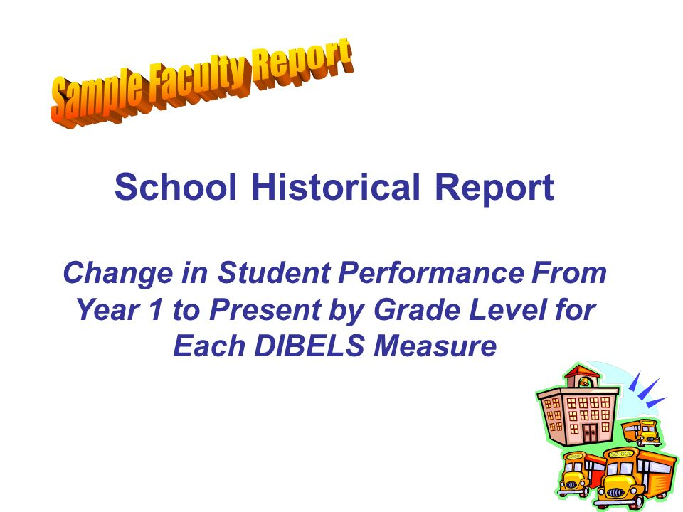 School Historical Report Change in Student Performance From Year 1 to Present by Grade Level for Each DIBELS Measure
