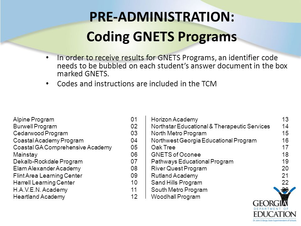 PRE-ADMINISTRATION: Coding GNETS Programs In order to receive results for GNETS Programs, an identifier code needs to be bubbled on each student's answer document in the box marked GNETS.
