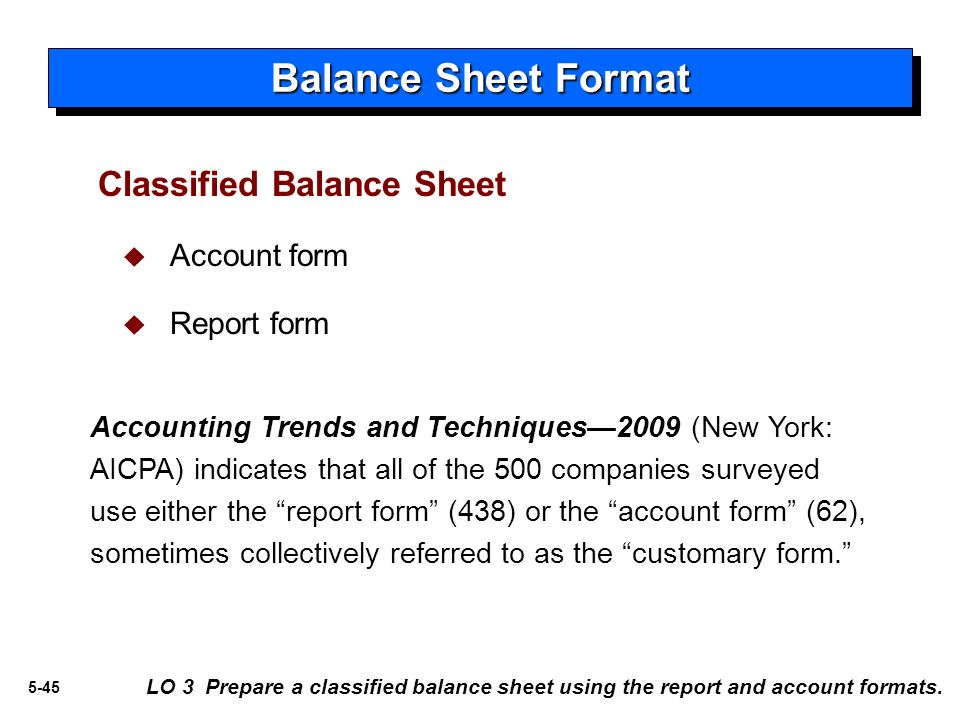 Doc6251047 Balance Sheet Classified Format Classified Balance – Report Form Balance Sheet