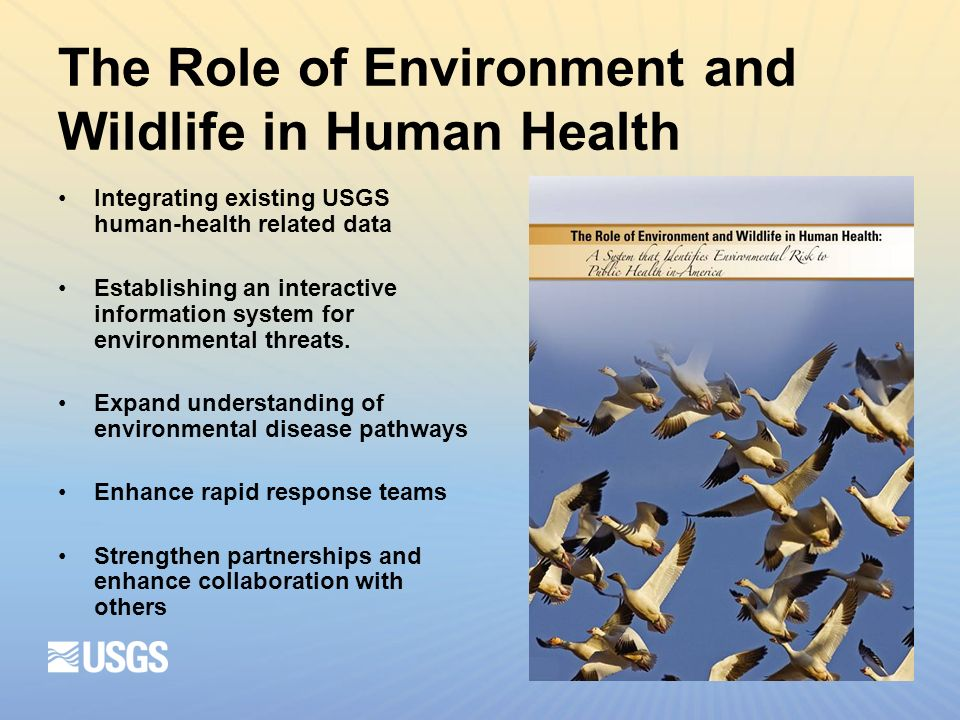 The Role of Environment and Wildlife in Human Health Integrating existing USGS human-health related data Establishing an interactive information system for environmental threats.