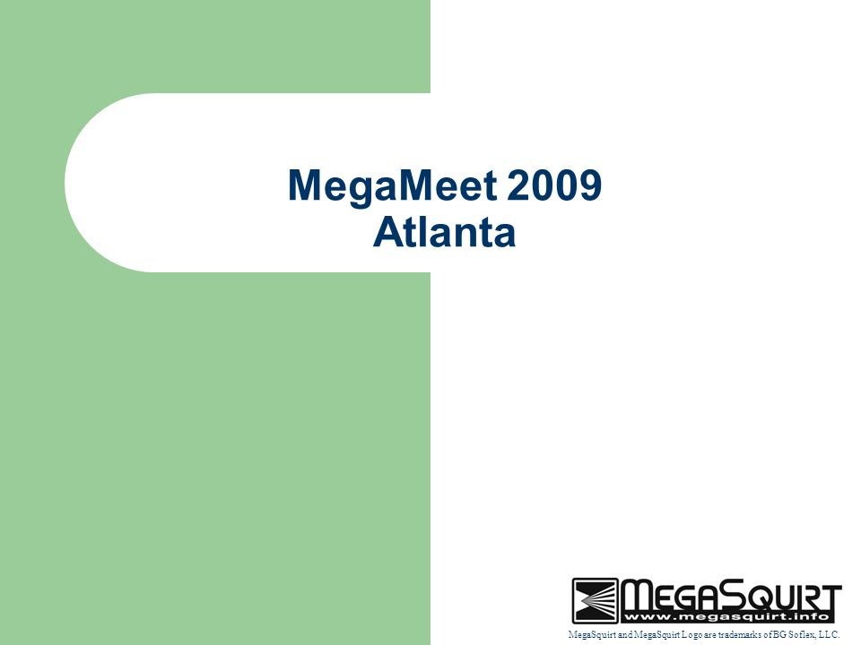 MegaSquirt and MegaSquirt Logo are trademarks of BG Soflex, LLC. MegaMeet 2009 Atlanta