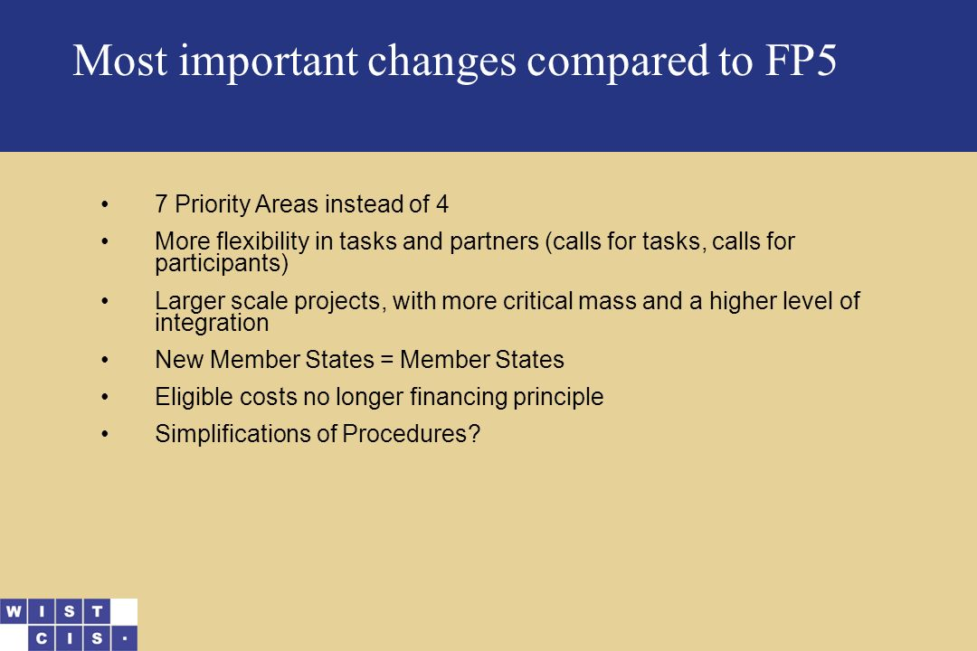 Most important changes compared to FP5 7 Priority Areas instead of 4 More flexibility in tasks and partners (calls for tasks, calls for participants) Larger scale projects, with more critical mass and a higher level of integration New Member States = Member States Eligible costs no longer financing principle Simplifications of Procedures