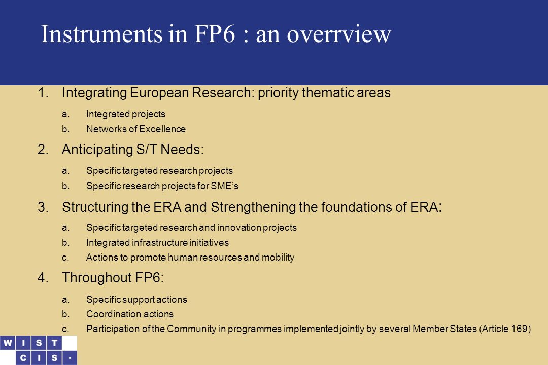 Instruments in FP6 : an overrview 1.Integrating European Research: priority thematic areas a.Integrated projects b.Networks of Excellence 2.Anticipating S/T Needs: a.Specific targeted research projects b.Specific research projects for SME's 3.Structuring the ERA and Strengthening the foundations of ERA : a.Specific targeted research and innovation projects b.Integrated infrastructure initiatives c.Actions to promote human resources and mobility 4.Throughout FP6: a.Specific support actions b.Coordination actions c.Participation of the Community in programmes implemented jointly by several Member States (Article 169)