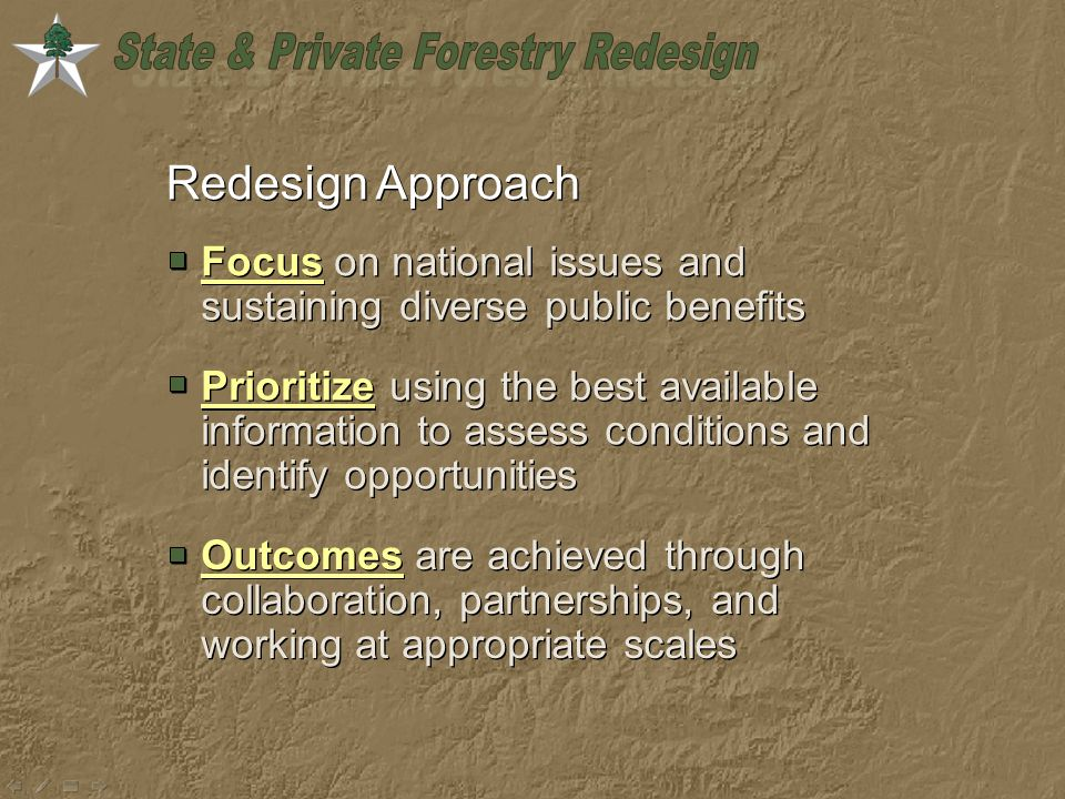 Redesign Approach Focus on national issues and sustaining diverse public benefits Prioritize using the best available information to assess conditions and identify opportunities Outcomes are achieved through collaboration, partnerships, and working at appropriate scales