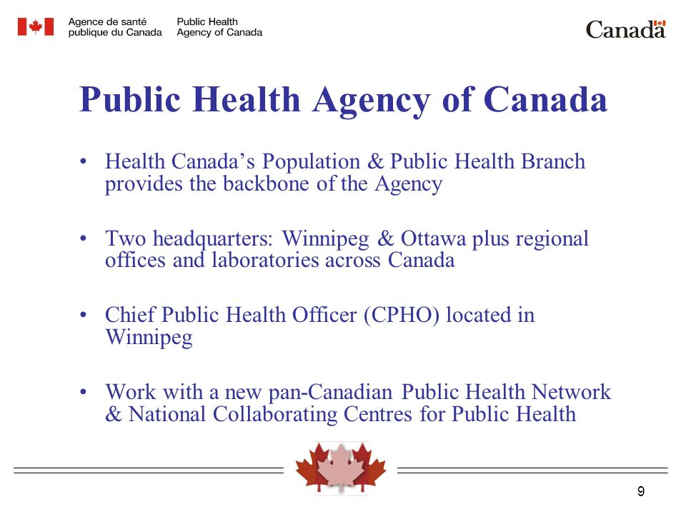 9 Public Health Agency of Canada Health Canada's Population & Public Health Branch provides the backbone of the Agency Two headquarters: Winnipeg & Ottawa plus regional offices and laboratories across Canada Chief Public Health Officer (CPHO) located in Winnipeg Work with a new pan-Canadian Public Health Network & National Collaborating Centres for Public Health