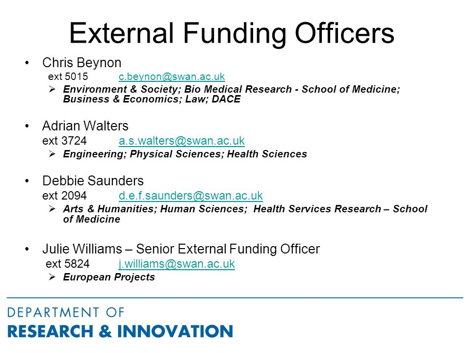 External Funding Officers Chris Beynon ext 5015  Environment & Society; Bio Medical Research - School of Medicine; Business & Economics; Law; DACE Adrian Walters ext  Engineering; Physical Sciences; Health Sciences Debbie Saunders ext 2094  Arts & Humanities; Human Sciences; Health Services Research – School of Medicine Julie Williams – Senior External Funding Officer ext 5824  European Projects