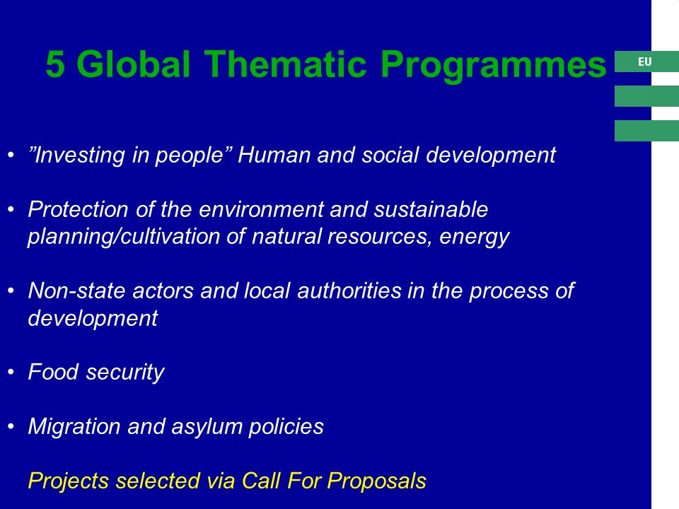 EU Investing in people Human and social development Protection of the environment and sustainable planning/cultivation of natural resources, energy Non-state actors and local authorities in the process of development Food security Migration and asylum policies Projects selected via Call For Proposals 5 Global Thematic Programmes