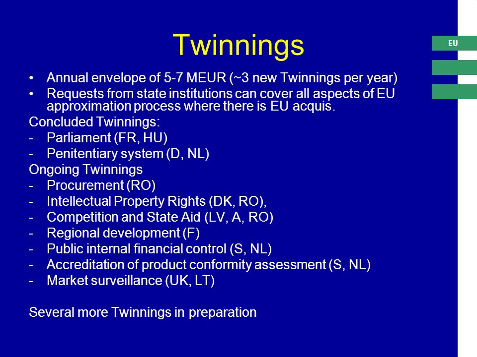 EU Twinnings Annual envelope of 5-7 MEUR (~3 new Twinnings per year) Requests from state institutions can cover all aspects of EU approximation process where there is EU acquis.