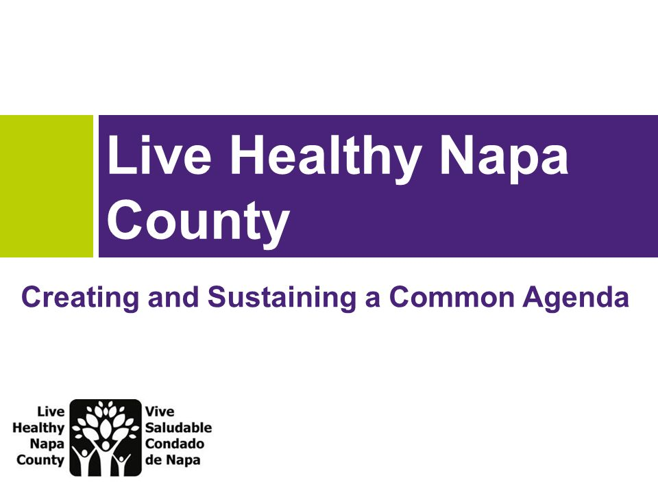 Live Healthy Napa County Creating and Sustaining a Common Agenda