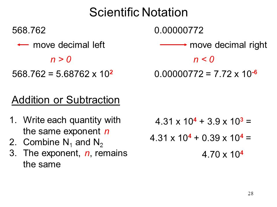 28 Scientific Notation n > = x 10 2 move decimal left n < = 7.72 x move decimal right Addition or Subtraction 1.Write each quantity with the same exponent n 2.Combine N 1 and N 2 3.The exponent, n, remains the same 4.31 x x 10 3 = 4.31 x x 10 4 = 4.70 x 10 4