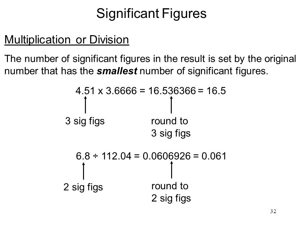 32 Significant Figures Multiplication or Division The number of significant figures in the result is set by the original number that has the smallest number of significant figures.
