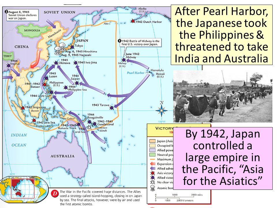 After Pearl Harbor, the Japanese took the Philippines & threatened to take India and Australia By 1942, Japan controlled a large empire in the Pacific, Asia for the Asiatics