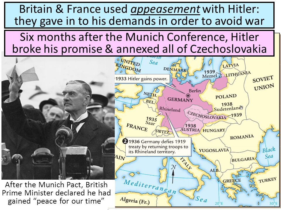 After the Munich Pact, British Prime Minister declared he had gained peace for our time Britain & France used appeasement with Hitler: they gave in to his demands in order to avoid war Six months after the Munich Conference, Hitler broke his promise & annexed all of Czechoslovakia
