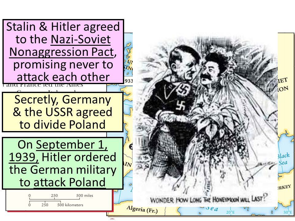 Stalin & Hitler agreed to the Nazi-Soviet Nonaggression Pact, promising never to attack each other Secretly, Germany & the USSR agreed to divide Poland On September 1, 1939, Hitler ordered the German military to attack Poland