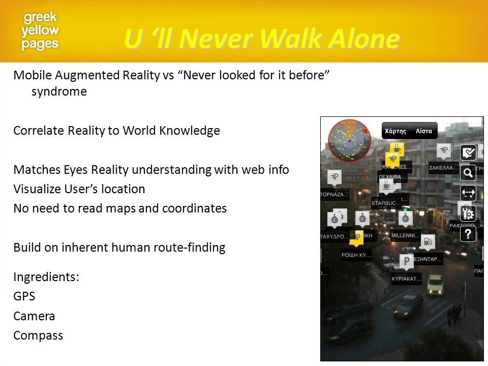 U 'll Never Walk Alone Mobile Augmented Reality vs Never looked for it before syndrome Correlate Reality to World Knowledge Matches Eyes Reality understanding with web info Visualize User's location No need to read maps and coordinates Build on inherent human route-finding Ingredients: GPS Camera Compass