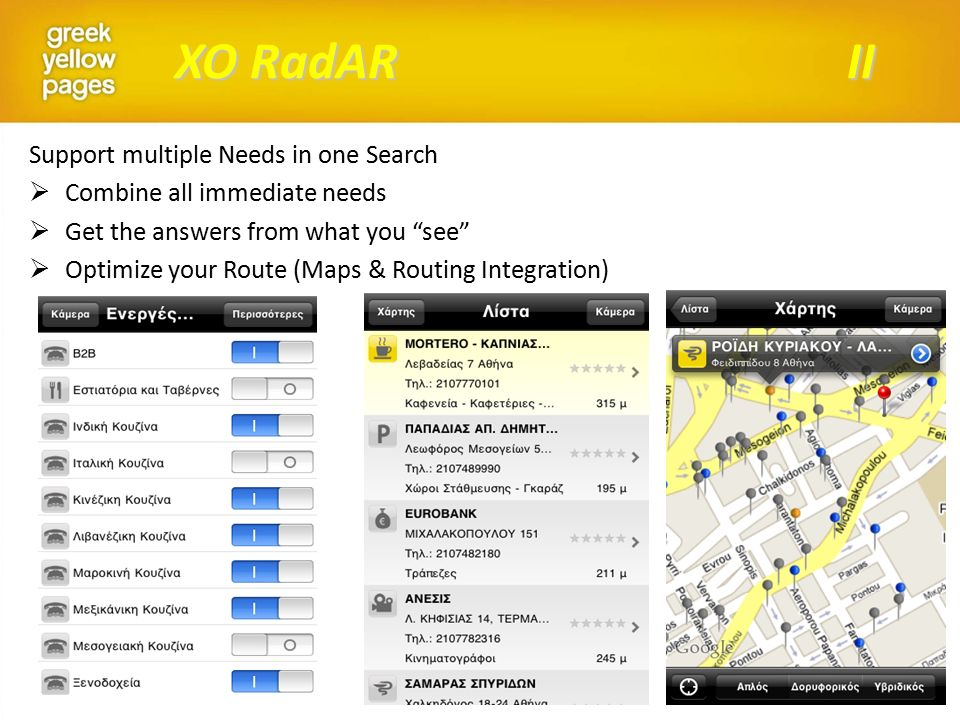 XO RadAR II Support multiple Needs in one Search  Combine all immediate needs  Get the answers from what you see  Optimize your Route (Maps & Routing Integration)