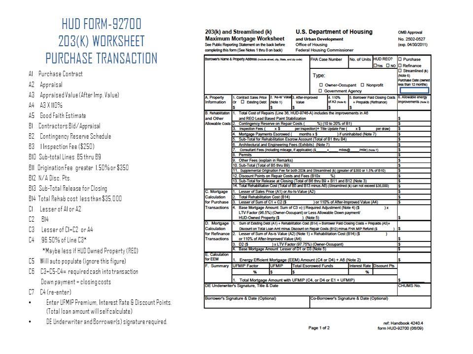 STREAMLINE 203K FHA LIMITED REPAIR PROGRAM FINANCING FOR ...