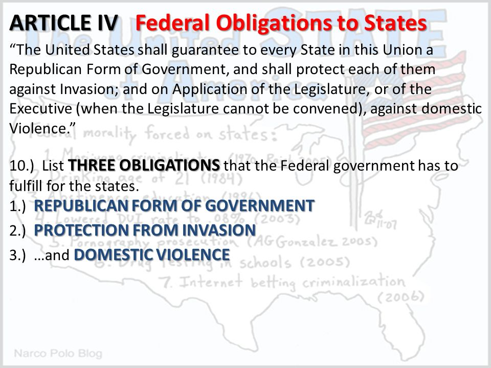 Article IV of the U.S. Constitution Interstate Relations, Federal ...