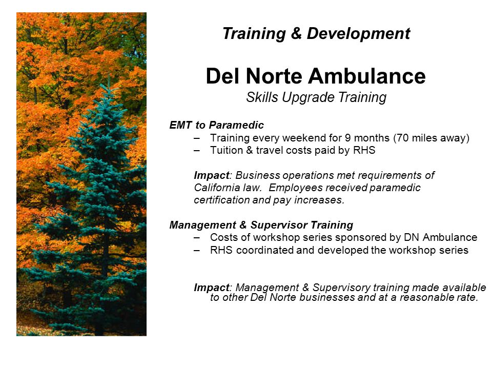 EMT to Paramedic –Training every weekend for 9 months (70 miles away) –Tuition & travel costs paid by RHS Impact: Business operations met requirements of California law.