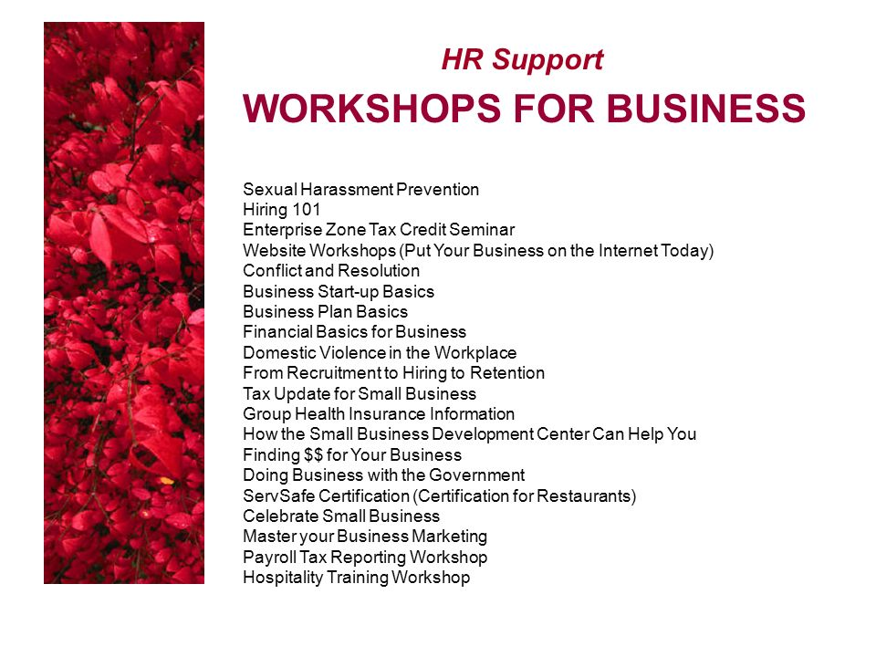 HR Support WORKSHOPS FOR BUSINESS Sexual Harassment Prevention Hiring 101 Enterprise Zone Tax Credit Seminar Website Workshops (Put Your Business on the Internet Today) Conflict and Resolution Business Start-up Basics Business Plan Basics Financial Basics for Business Domestic Violence in the Workplace From Recruitment to Hiring to Retention Tax Update for Small Business Group Health Insurance Information How the Small Business Development Center Can Help You Finding $$ for Your Business Doing Business with the Government ServSafe Certification (Certification for Restaurants) Celebrate Small Business Master your Business Marketing Payroll Tax Reporting Workshop Hospitality Training Workshop