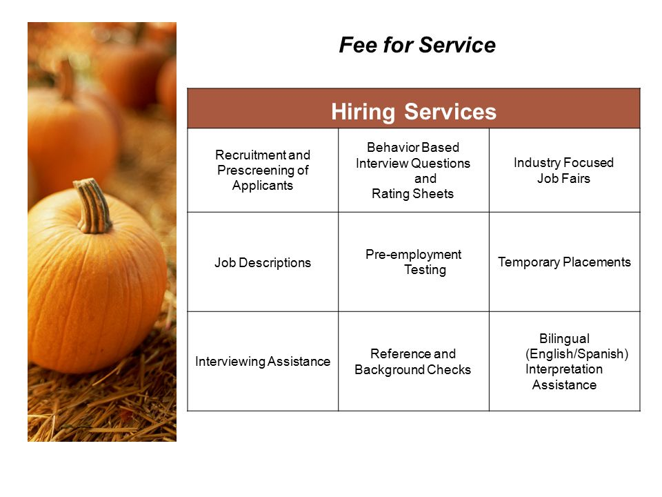 Fee for Service Hiring Services Recruitment and Prescreening of Applicants Behavior Based Interview Questions and Rating Sheets Industry Focused Job Fairs Job Descriptions Pre-employment Testing Temporary Placements Interviewing Assistance Reference and Background Checks Bilingual (English/Spanish) Interpretation Assistance