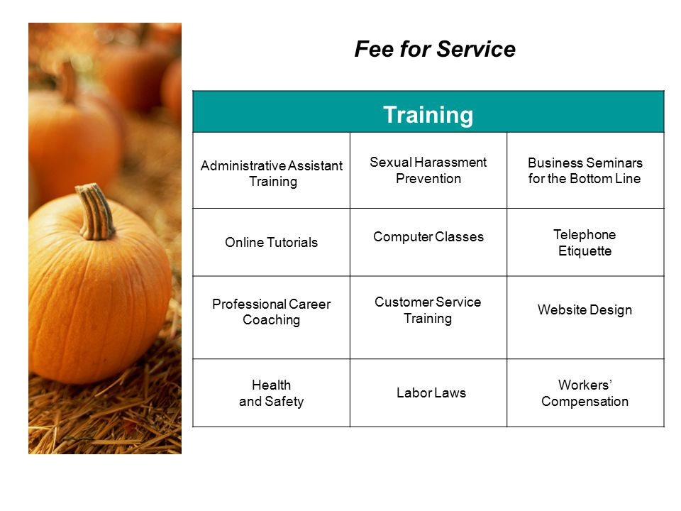 Fee for Service Training Administrative Assistant Training Sexual Harassment Prevention Business Seminars for the Bottom Line Online Tutorials Computer Classes Telephone Etiquette Professional Career Coaching Customer Service Training Website Design Health and Safety Labor Laws Workers' Compensation