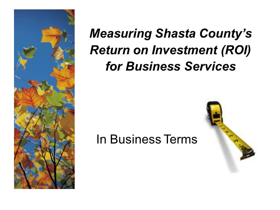 Measuring Shasta County's Return on Investment (ROI) for Business Services In Business Terms