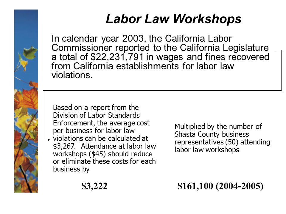 Labor Law Workshops In calendar year 2003, the California Labor Commissioner reported to the California Legislature a total of $22,231,791 in wages and fines recovered from California establishments for labor law violations.