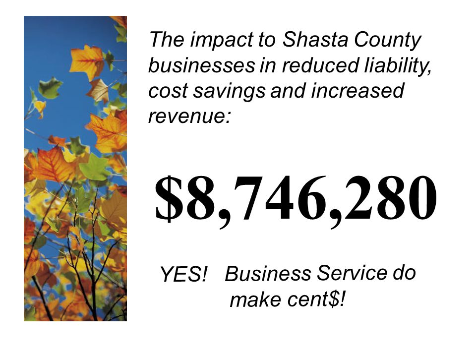 The impact to Shasta County businesses in reduced liability, cost savings and increased revenue: $8,746,280 YES.