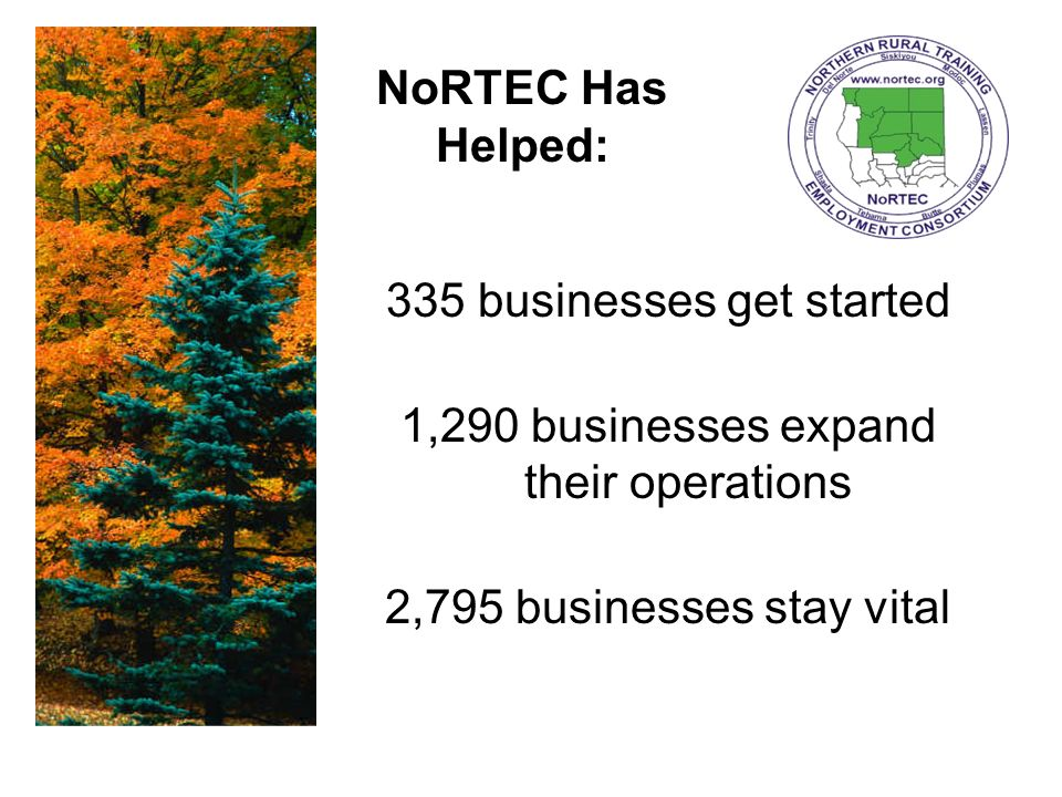 335 businesses get started 1,290 businesses expand their operations 2,795 businesses stay vital NoRTEC Has Helped: