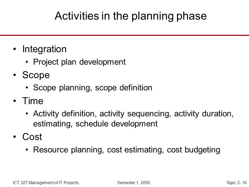 Topic 2- 18ICT 327 Management of IT Projects Semester 1, 2005 Activities in the planning phase Integration Project plan development Scope Scope planning, scope definition Time Activity definition, activity sequencing, activity duration, estimating, schedule development Cost Resource planning, cost estimating, cost budgeting