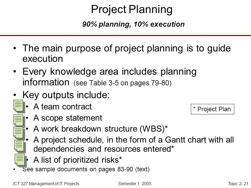 Topic 2- 21ICT 327 Management of IT Projects Semester 1, 2005 Project Planning 90% planning, 10% execution The main purpose of project planning is to guide execution Every knowledge area includes planning information (see Table 3-5 on pages 79-80) Key outputs include: A team contract A scope statement A work breakdown structure (WBS)* A project schedule, in the form of a Gantt chart with all dependencies and resources entered* A list of prioritized risks* See sample documents on pages (text) * Project Plan