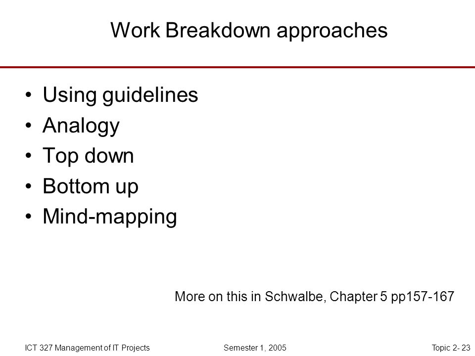 Topic 2- 23ICT 327 Management of IT Projects Semester 1, 2005 Work Breakdown approaches Using guidelines Analogy Top down Bottom up Mind-mapping More on this in Schwalbe, Chapter 5 pp