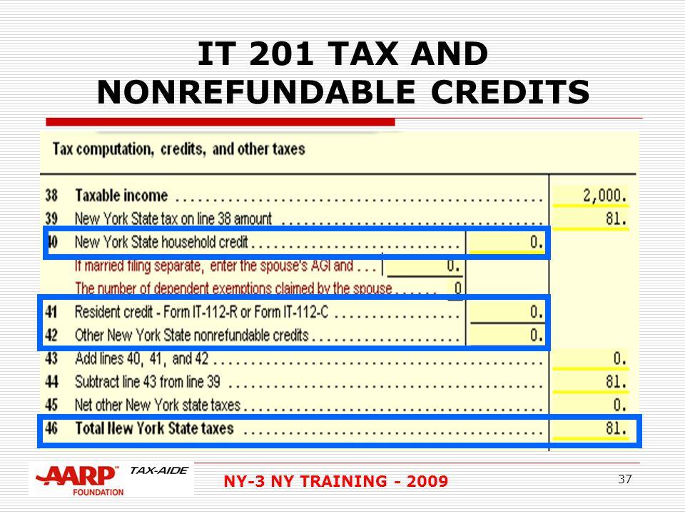 NY-3 NY TRAINING IT 201 NEW YORK STATE RESIDENT RETURN REFS NYS ...