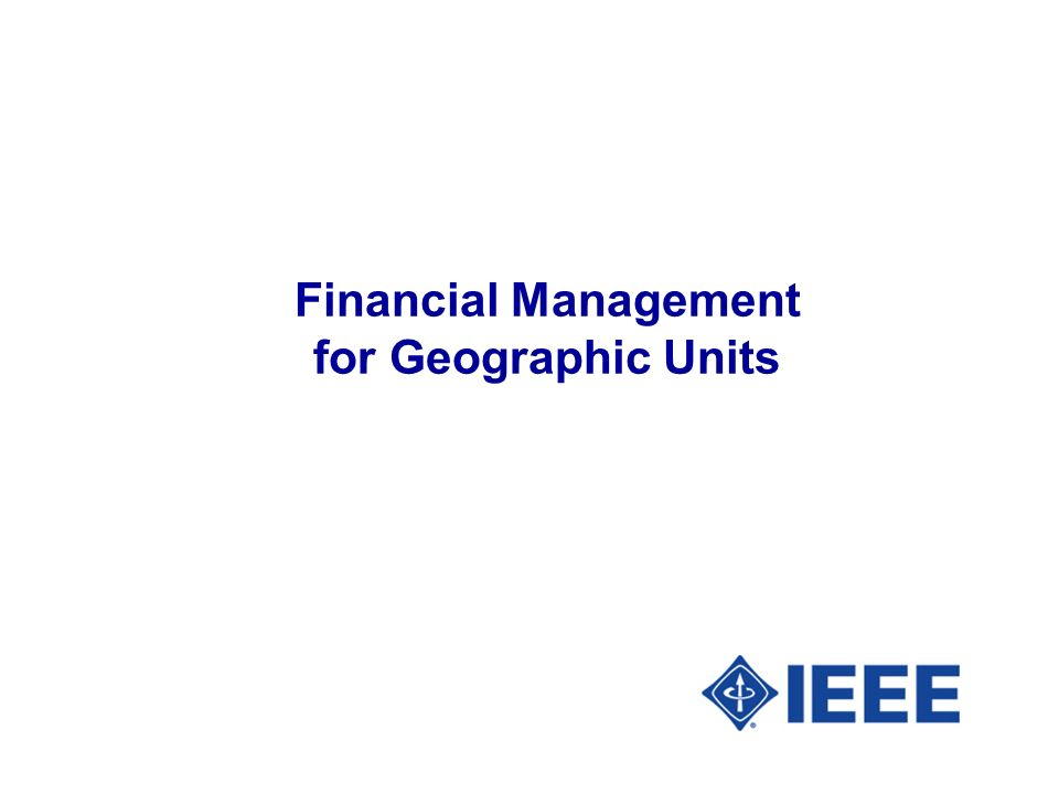 Financial Management for Geographic Units