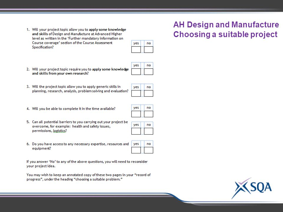 AH Design and Manufacture Choosing a suitable project