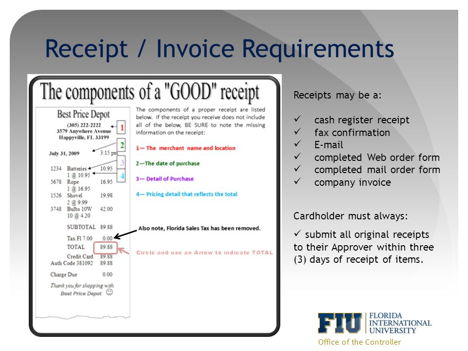 23 Receipt / Invoice Requirements Office ...