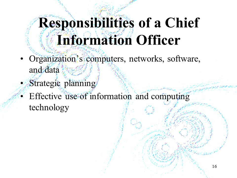 16 Responsibilities of a Chief Information Officer Organization's computers, networks, software, and data Strategic planning Effective use of information and computing technology