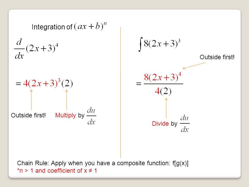 Integration of Multiply by Outside first.