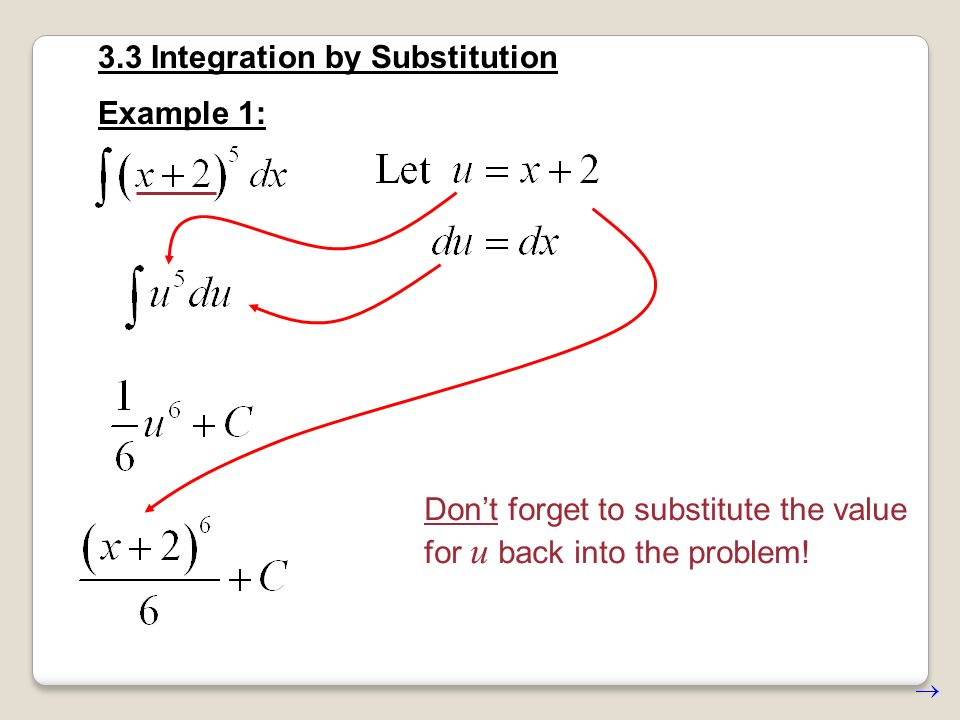 3.3 Integration by Substitution The variable of integration must match the variable in the expression.