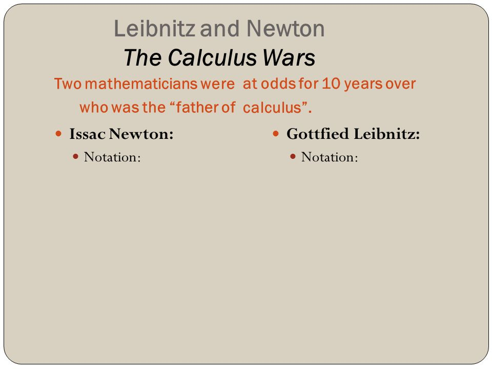 Leibnitz and Newton The Calculus Wars Two mathematicians were who was the father of at odds for 10 years over calculus .