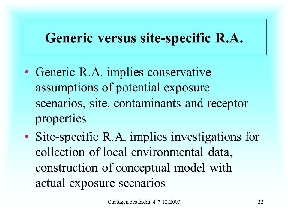 Cartagen des India, 4-7.12.200022 Generic versus site-specific R.A.
