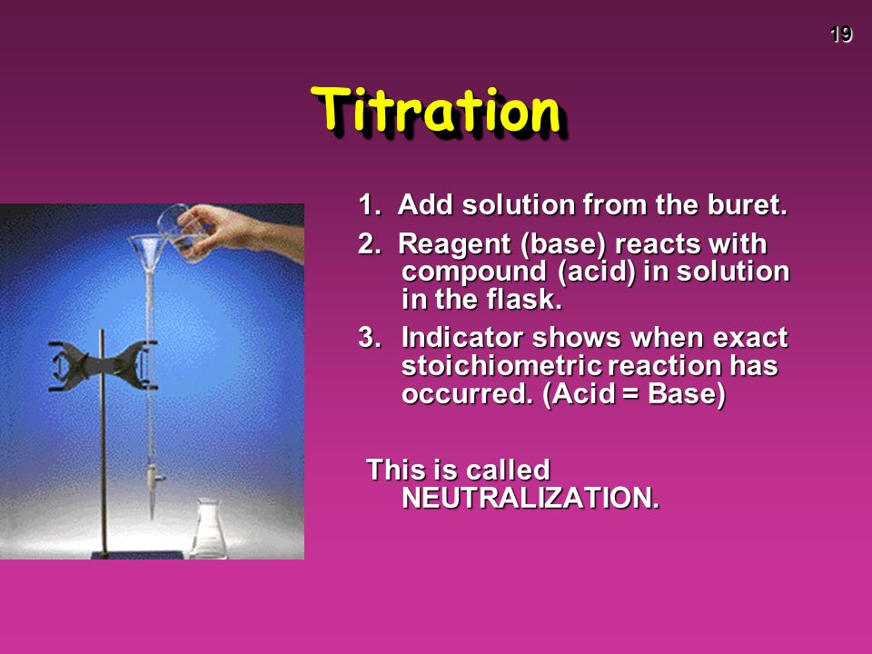 19 TitrationTitration 1. Add solution from the buret.