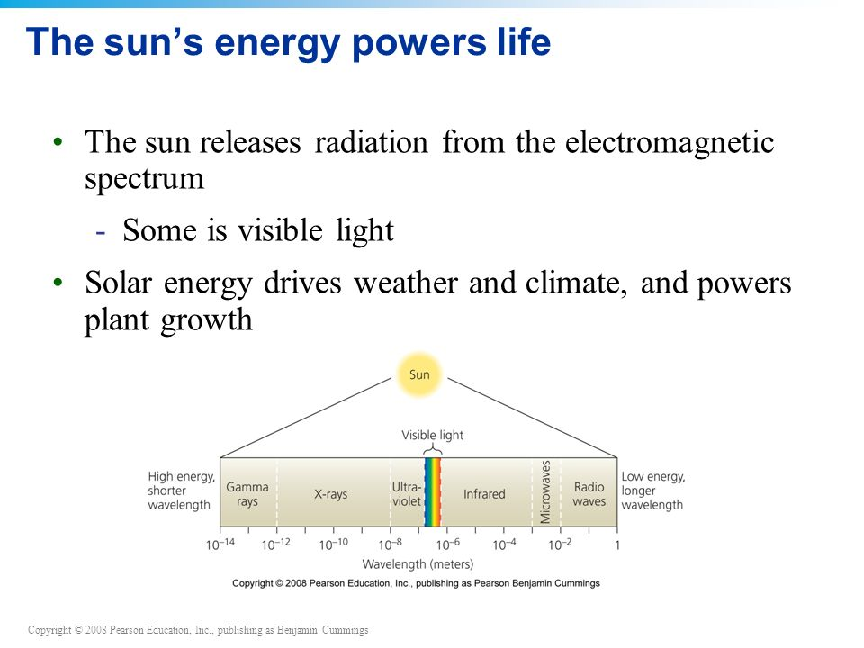 Copyright © 2008 Pearson Education, Inc., publishing as Benjamin Cummings The sun's energy powers life The sun releases radiation from the electromagnetic spectrum -Some is visible light Solar energy drives weather and climate, and powers plant growth