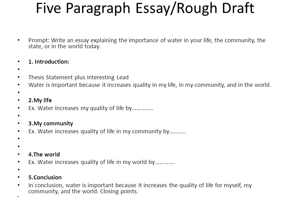 prewriting discuss your neighbor and write down ideas why  five paragraph essay rough draft prompt write an essay explaining the importance of water